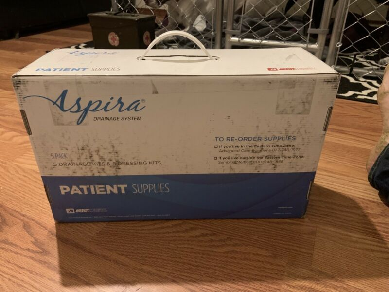 LOT OF ASPIRA (5) Pleural/Peritoneal Drainage Kits & (5) Dressing Kits 2/28/2021