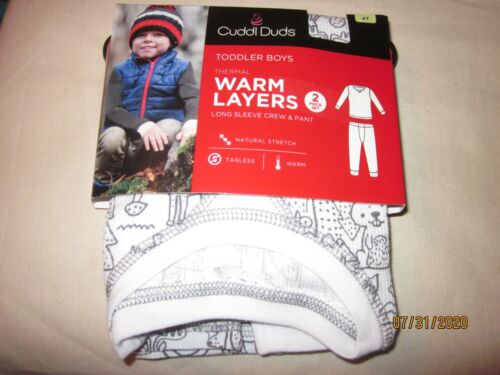 new 2 piece CUDDL DUDS boys THERMAL white OUT DOORS squirrels  CREW & PANTS 4T