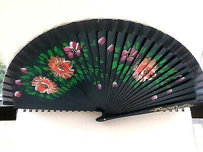 Abanico coleccion reversible color negro cara detalles florales