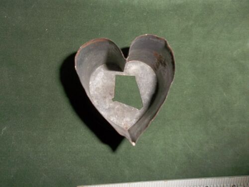 Primitive Tin Cookie Cutter Hand Made Heart Design Large