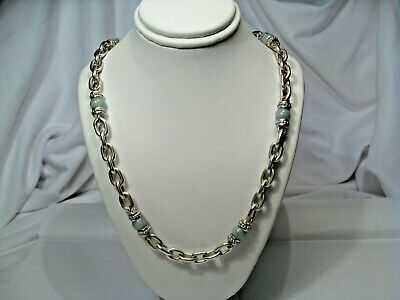 """Judith Ripka Sterling Silver & Green Stone Necklace. 18"""", 60.7g, Heavy. #12"""