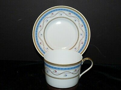 FABERGE Blue Gold Luxembourg Porcelain Flat Cup & Saucer STUNNING Multiples