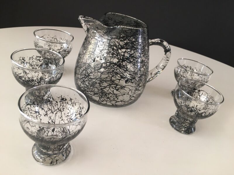 Retro 1960's Spaghetti String Cocktail Pitcher And Glass Set Black/Clear Nice!!