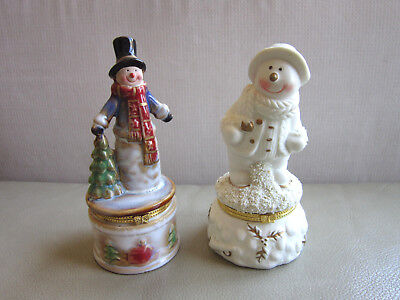 Lot of 2 Snowman Porcelain Hinged Trinket Box Christmas Collection Holiday - Snowman Collection
