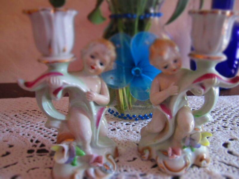 Vintage Cherub Angel Candle Stick Holders Porcelain Made in Japan