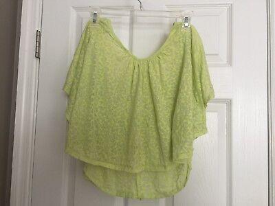NoBo Poncho Summer Shirt Yellow juniors swim embroider leopard print mesh -