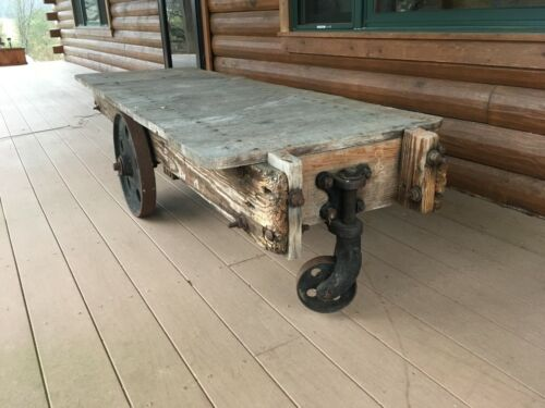 Antique Industrial Vintage Original Nutting Factory Cart~Beautiful Coffee Table