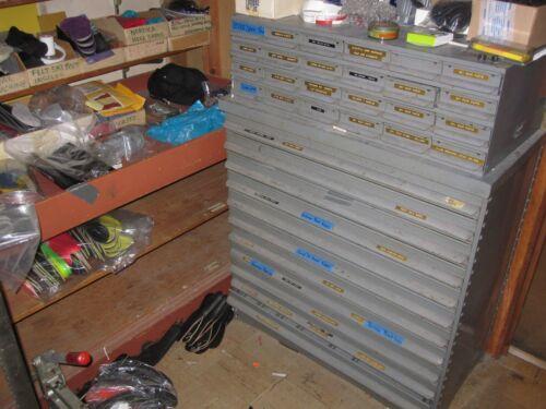 "Vintage Equipto 35 Drawer Unit  Metal Parts Cabinet 17"" deep drawers"