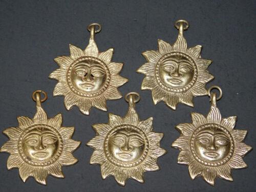 Sun God Tibetan Brass Lot of 5 Pcs Buddhist Ritual Amulets From Nepal