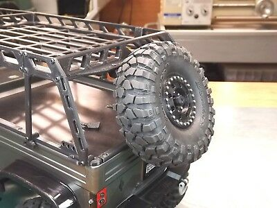 "Jeep Spare Tire Rack - RCDM Spare Tire Mount For The Jeep ""Mighty"" FC Roll Cage/Bed Rack - SCX10"