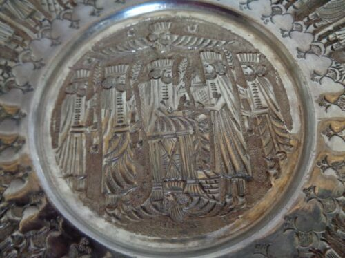 PERSIAN ESFAHAN STERLING SILVER 84 HAND MADE PLATE BOWL 204 gr
