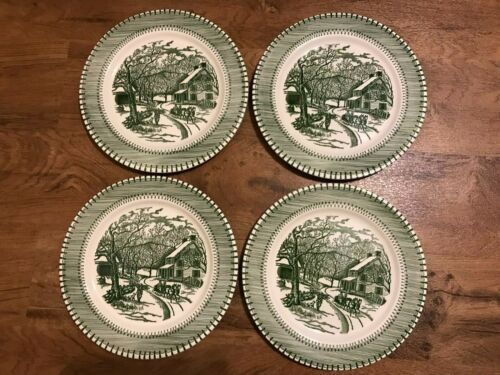 """Country Life 10"""" Green Dinner Plates Currier & Ives by Knowles Set of 4"""