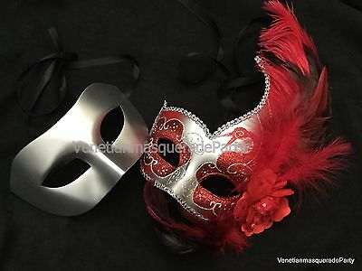 Venetian Masquerade pair For Couple fancy Halloween costume midnight Party Mask](Couples For Halloween)
