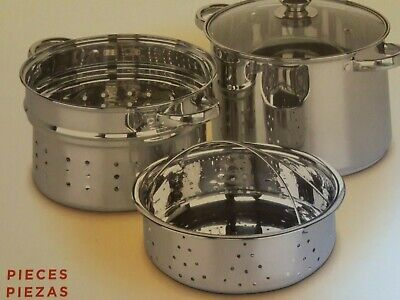 Best Home 4 piece stainless steel multi-cooker set brand new 8 qt pot w/ lid,