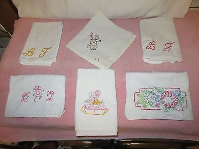 6 Vintage Muslin/Cotton Embroidered Tea Towels-Initials, Bunny Rabbit,Apple, Pie