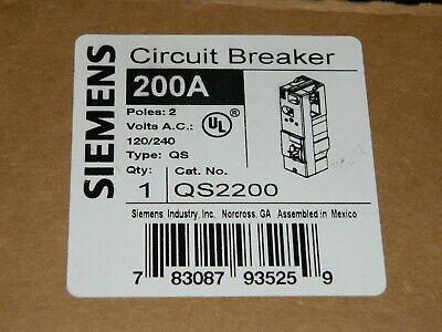 New Siemens Qs2200 Circuit Breaker 200a 120240 Vac 2 Pole Qs - New In Box