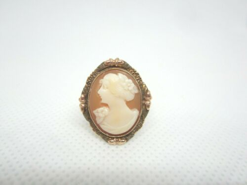 ANTIQUE 10K YELLOW GOLD CAMEO RING BEAUTIFUL DETAILED SETTING