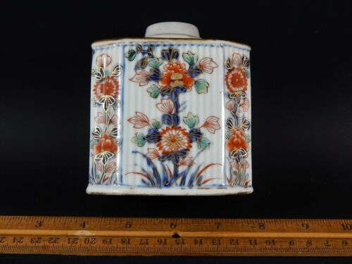 Antique Chinese Export Fluted  Kangxi Verte Imari Tea Caddy 18th C  Circa 1720