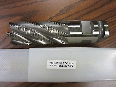 Roughing End Mill 2x1-1//4x4x6-1//2 6Flutes,Super HSS M2Al,#1002V-755-New