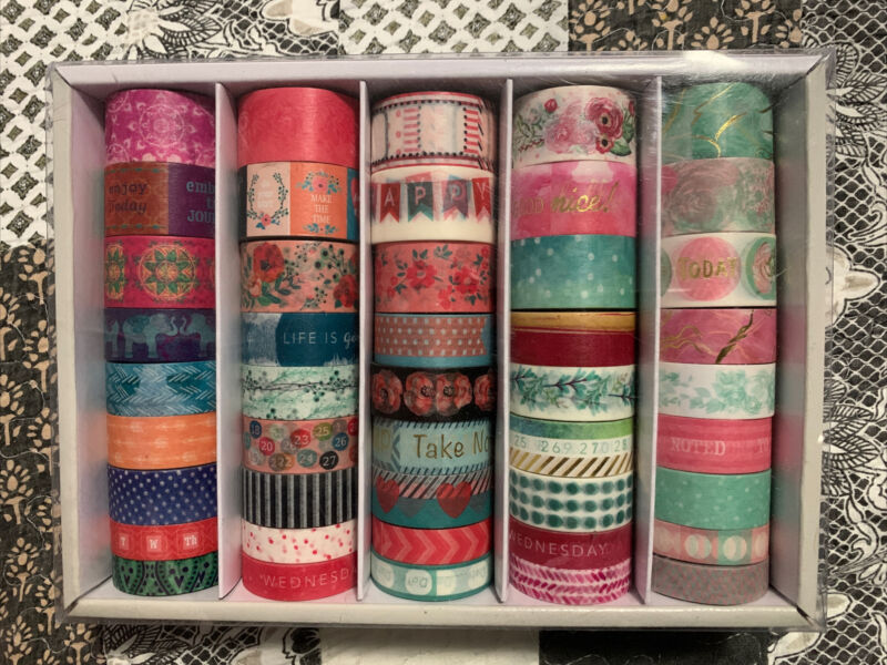 Floral Bohemian Planner Washi Tape Recollections Crafting tape box of 45 rolls