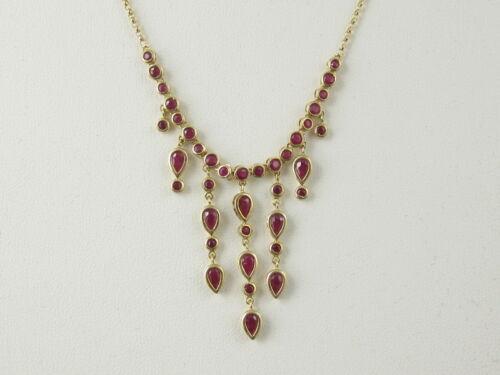 "Ruby Necklace Dangle Chandelier 14K Yellow Gold 20"" Link Estate Bezel Set"