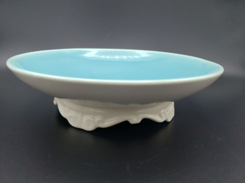 """Vintage Catalina Pottery Footed Bowl 7 3/4"""" Dish Turquoise Teal Blue Cream 1940"""