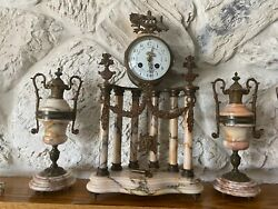 Antique French Marble Mantel Clock Chimes & Columns, Bronze Gilt Works & 2 Urns