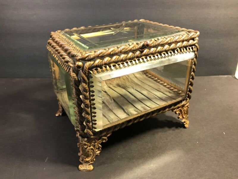 Antique Bronze And Crystal Jewerly Box/ Beveled  / France C. 1900/ Stamped