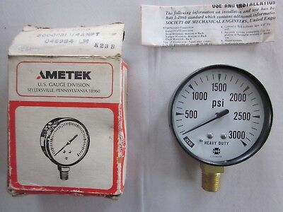 New Old Stock Ametek H.d. 3000 P.s.i. Pressure Gauge 2 12 Face 14 Anpt