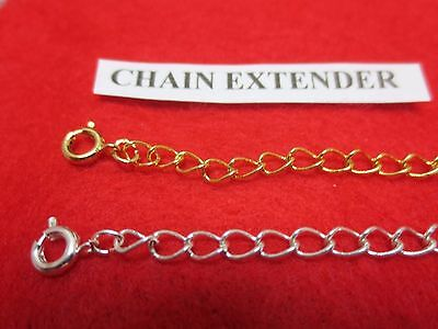 2 INCH SET OF 14 KT GOLD & SILVER PLATED 4MM NECKLACE EXTENDERS W/ SPRING RING