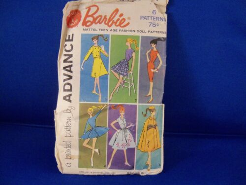 1961 Barbie Clothes Pattern Mattel 6 Outfits Advance Unused Fashions Group B