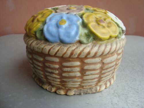 "American Terra Cotta Teco Matte Polychrome 4"" by 6"" Flower Basket Doorstop #2"
