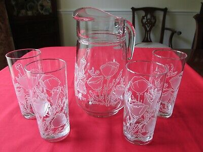 CULVER DECORATED ARCOROC WHITE/FROSTED POPPY ICED TEA GLASS PITCHER & 4 TUMBLERS