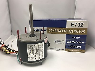 Air Conditioner Condenser Fan Motor 1/4 HP 1075 RPM 230 Volts General Replacemen
