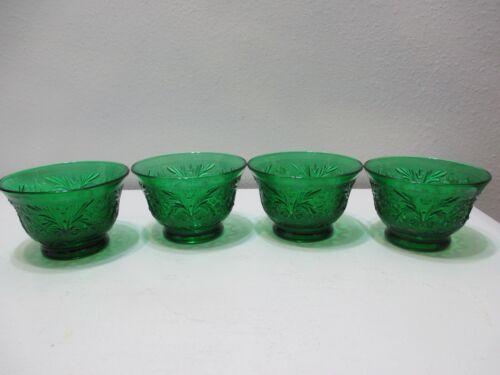 Vintage Anchor Hocking Glass Sandwich Custard Cups Set of 4 Forest Green