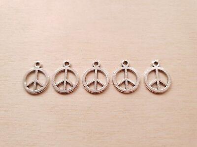 Kleine Charms (5 x Kleine Peace Anhänger * Frieden Hoffnung * Schmuck Basteln Charms Silber)