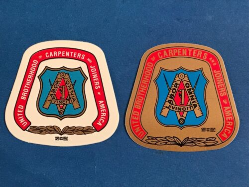 """UNITED BROTHERHOOD of CARPENTERS HARD HAT DECALS """"Union Made in USA"""" UNION PRIDE"""