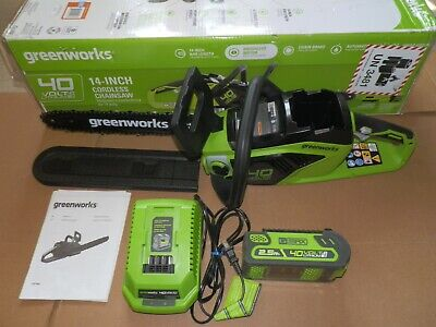 "greenworks CSF403 40V Cordless 14"" Chainsaw with G-MAX 2.5 Ah Battery & Charger"