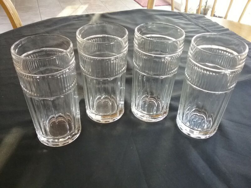 """4 Vintage ANCHOR HOCKING Annapolis 16 oz, 6-1/4"""" Clear Drink Glasses"""
