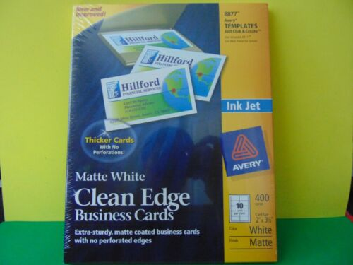 400 Avery 8877 Ink Jet Clean Edge Business Cards White Matte New & Sealed