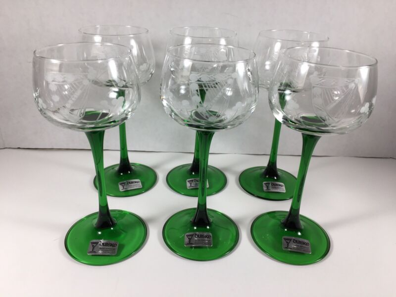 Duiske Green Stem Harp/Shamrock Etched Glass Wine Glasses, In Original Box