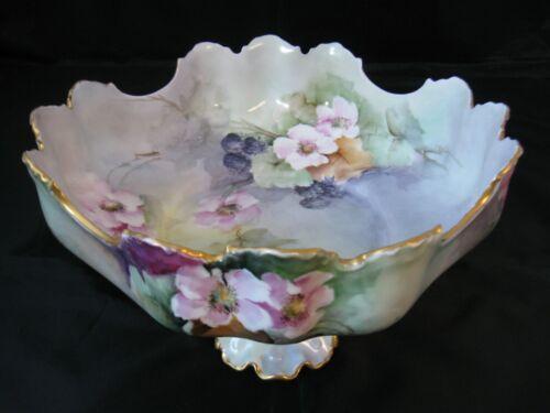 Antique Hand Painted Rosenthal Fruit Bowl, Ornate C1900 Porcelain Display Piece