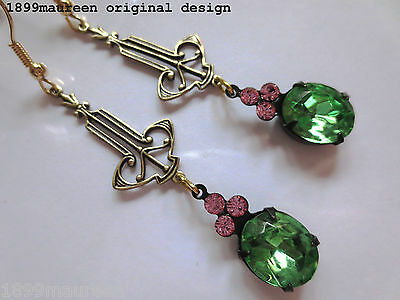 Art Deco Art Nouveau earrings vintage peridot green crystal drop long 1920 style