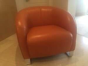 Natuzzi orange leather chair original price $2550.00 West Perth Perth City Area Preview