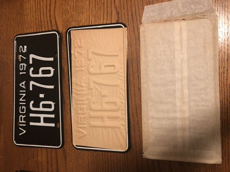 1972 Virginia License Plate Set. New Old Stock