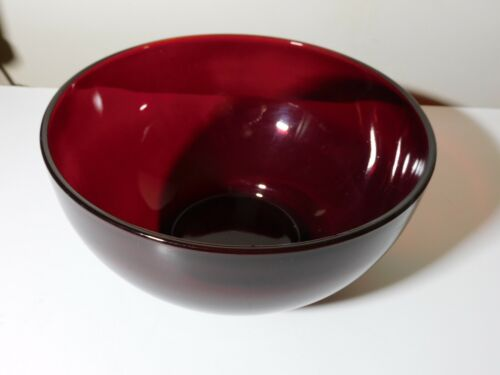 """ANCHOR HOCKING ROYAL RUBY 10"""" PUNCH BOWL GOOD USED CONDITION"""