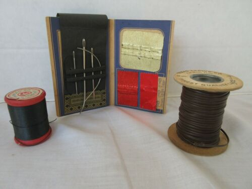 Vintage Lot Leather Crafting Lacing Needles Lace Aunt Lydia Button Carpet Thread