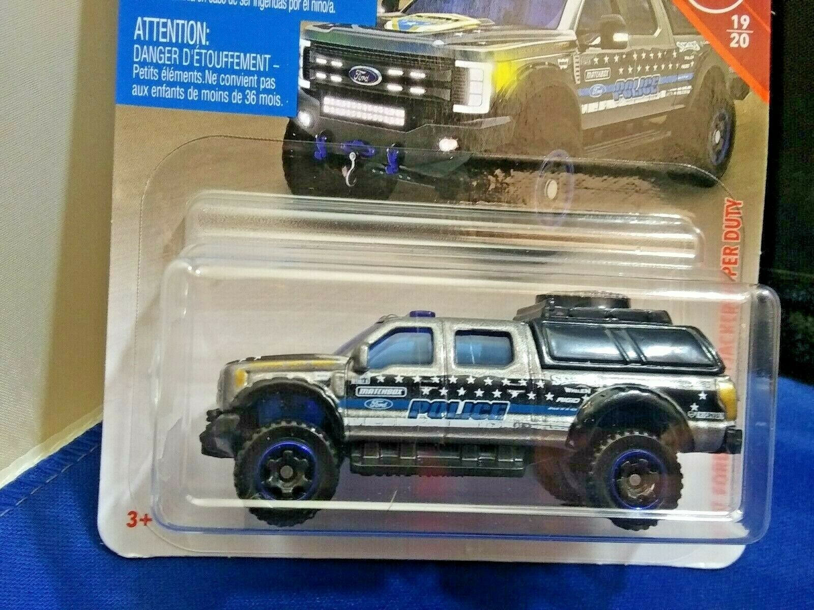 Matchbox '17 Ford Sky Jacker Super Duty F-350 Police Truck Diecast 1:64 Scale  1
