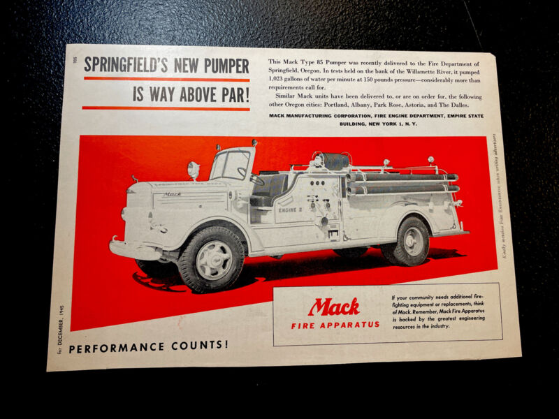 1945 Mack Fire Truck Advertising - Springfield - Oregon - Emergency