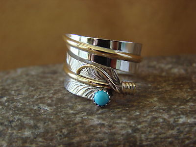 Navajo Indian Jewelry Sterling Silver Turquoise Feather Ring, Adjustable!